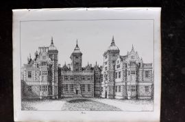Anastatic Drawing Society 1858 Print. Aston Hall, Birmingham